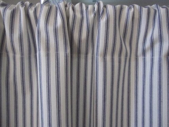 Denim Blue Woven Cotton Ticking Stripe Cabinet Sink Curtain