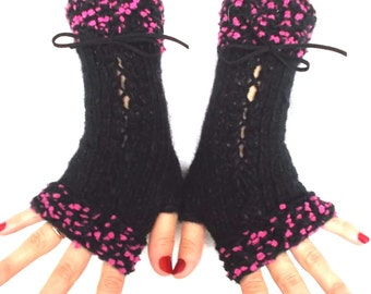Fingerless Gloves Corset Wrist Warmers in Black with Suede Ribbons Pink