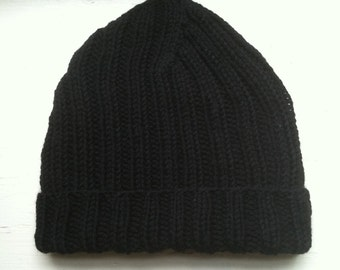 Hand Knit Ribbed Hat With Brim, Unique Hand Knit Adult Wool Hat - Color Black