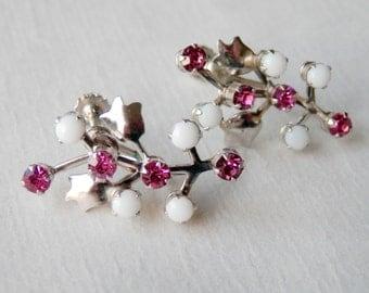 Vintage Tulip Earrings Screwbacks Pink Stones White Plastic Stones Costume Retro Earrings