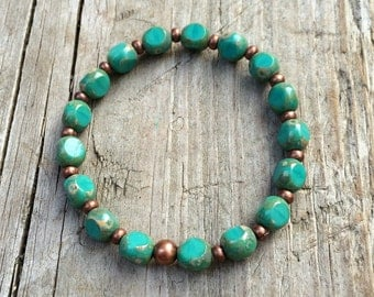 Green Turquoise Czech Glass and Copper Bracelet, Stretch Bracelet