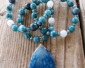 Azurite Jasper and Teal Crystal Beaded Necklace with Dragons Vein Pendant