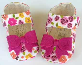 Floral Baby Shoes Infant Girl Shoes Soft Sole Shoes Crib Shoes Purple Baby Shoes Newborn Shoes Baby Booties Toddler Girl Shoes- Sugarplum
