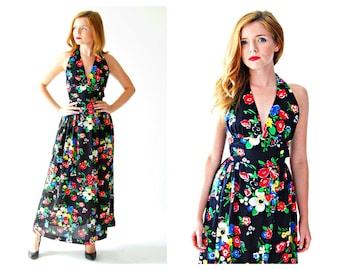 Pinup Halter Maxi Dress- XS, 0, 2, Bombshell, Petite, Rockabilly, Wraparound, Floral, Boho, Jonathan Logan LOT 2