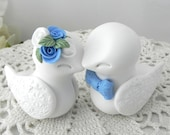 Love Birds Wedding Cake Topper, White and Cornflower Blue - Bride and Groom Keepsake, Fully Custom