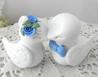 Love Birds Wedding Cake Topper, White and Cornflower Blue - Bride and Groom Keepsake, Fully Custom