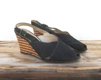 Wedge Slingback Sandals Salvatore Ferragamo Black Suede Shoes Ladies Size 8