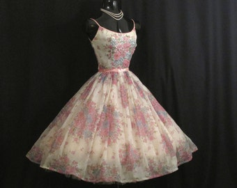 Vintage 1950's 50s White Pink Floral Chiffon Organza Satin Bows Sequins Party Prom Wedding Dress