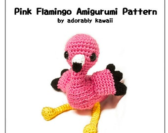 Pink Flamingo Amigurumi Pattern, Pink Bird Plush, Flamingo Crochet Pattern, Flamingo Nursery Toy, Cute Pink Flamingo Crochet Pattern