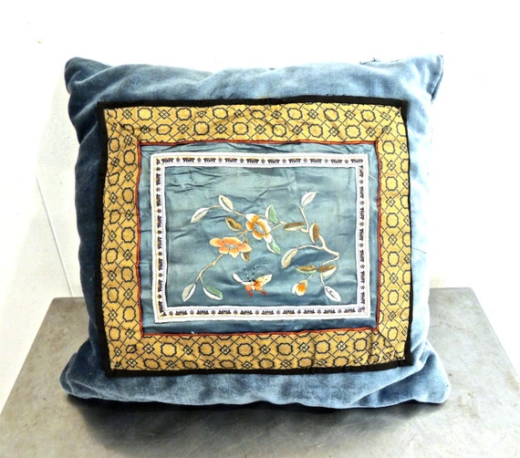 vintage blue embroidered throw pillow 1960s silk/velvet