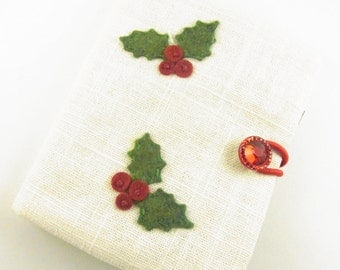 Tea Wallet Christmas Holly Berries Hand Embroidered Felt Applique on Linen SALE