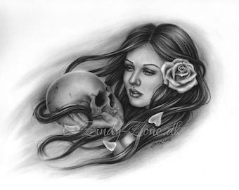 Eternal Love Skull Gir Rose Tattoo Clown Girl Art Print Glossy Emo Fantasy Girl Zindy Nielsen