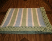 Knit Green & Light Blue Baby Blanket / Afghan / Lapghan With Crochet Trim