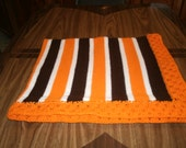 Knit Cleveland Browns Fan Baby Blanket / Afghan / Lapghan With Crochet Trim