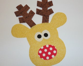 Iron On Christmas Applique LITTLE REINDEER With Brown Antlers Red Polka Dot Nose