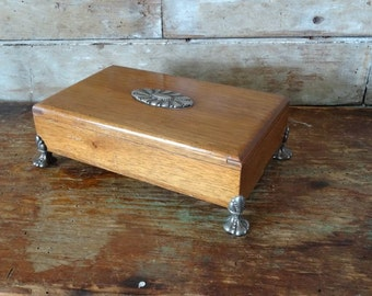 Vintage Wooden Ornate Box Decorative Legs