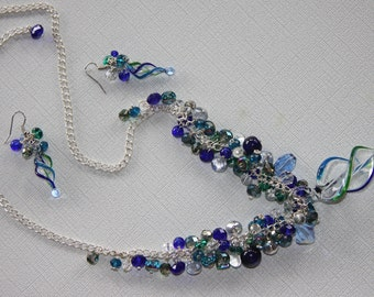 Shining Seas - Art glass necklace, earrings in vibrant blues and greens