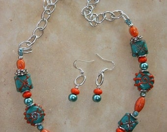 Summer Sunshine - Necklace, Earrings in teal and orange