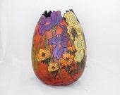 Spring Iris Madness Gourd Vase   (1425)  flower