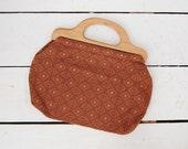 vintage 1970s bag / wood handle bag / tapestry purse / Home Grown purse