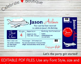 Airline Ticket Invitation Birthday Party Invitation ~ Baby Shower Airplane  Instant Download Boarding Pass Editable Invitation  Airline Ticket Invitation