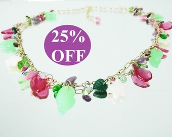 NOW 25% OFF Swarovski, Mother of Pearl and Glass Drops Floral Lei Charm Necklace with Earrings