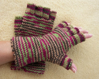 KIMONO Half Finger Hand Knit 100% Soft WOOL GLOVES / Thoughtful Gift / Colorful knit gloves