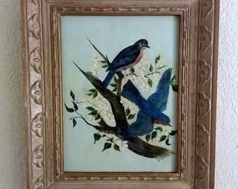 Vintage-Blue Birds-Original Oil Painting On Wooden Panel/Board-Framed-Signed By Artist-Bonnie S.