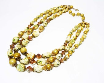 Signed ART Multistrand Necklace - Three Strands of Beads - Brown, Olive Green and Goldtone- Vintage Mid Century Mod Jewelry