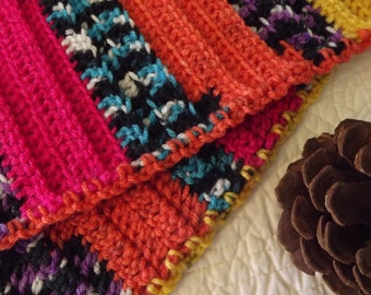 Sassy Multi Colored Crocheted Warm Winter Scarf pink orange purple teal black yellow