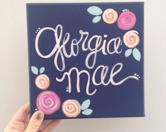Personalized flower name wall art, navy with pink and orange flowers