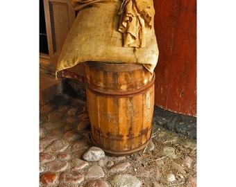 Fine Art Color Photography of Rustic Old Barrel in Sweden