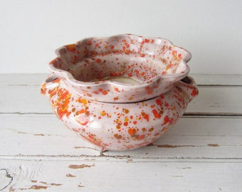 Vintage Cheerful Orange Speckled Violet Planter
