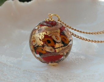 Maroon Glass  Necklace - Venetian Murano Glass