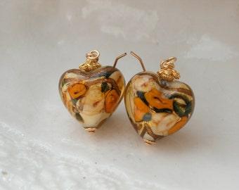 Venetian Murano Glass Heart Earrings