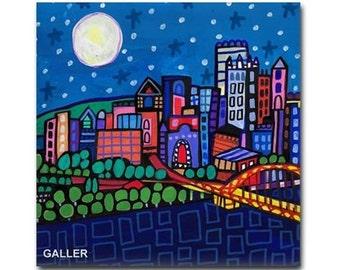 Pittsburgh Art Ceramic Tile  City Skyline Pennsylvania Folk Art coaster (HG2625)