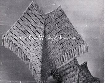 Crochet Poncho pattern Vintage poncho shawl Pattern Patterns to crochet and toknit PDF 802 from WonkyZebra