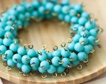 Vintage Japan Miriam Haskell 5mm Turquoise Glass Connector Beaded Links
