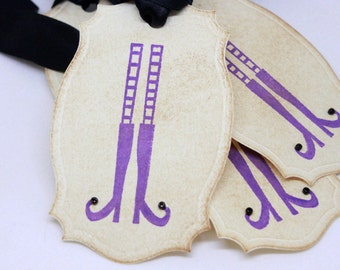 Halloween Gift Tags (Double Layered) - Witch Shoe Gift Tags - Vintage Inspired Handmade Halloween Tags (Set of 8)
