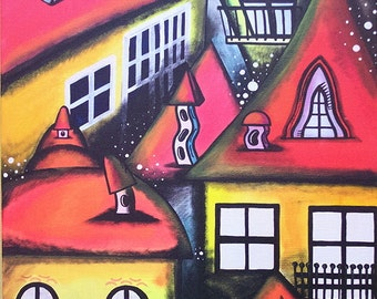 "Original Art Painting Abstract Landscape "" Cheerful   Company "" Art Abstract Landscape & Scenic Surreal , Whimsical art"