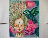 folk art whimsical Original painting mixed media art painting 8x10 inch canvas board - Willow and the hummingbird