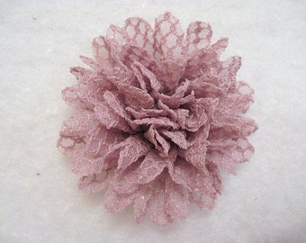 3.5 Inch Large Lace Detail Flower Dusty Mauve