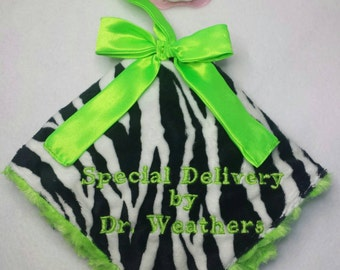 Unisex pacifier taggie blanket security hot pink lime Green Rosecuddle or minky black white zebra custom handmade baby boy girl beautiful