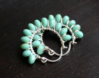 Aqua green beaded hoops, sterling silver earrings, Czech glass beads, wire wrapped hoop, beaded, light aqua blue, Mimi Michele Jewelry