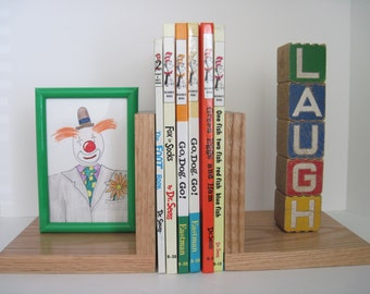 Vintage ABC Wood Blocks Children's BOOKENDS - UPCYCLED, Laugh, Picture Frame