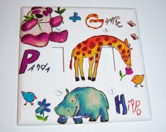 Panda, Giraffe, and Hippo Double Light Switch Cover