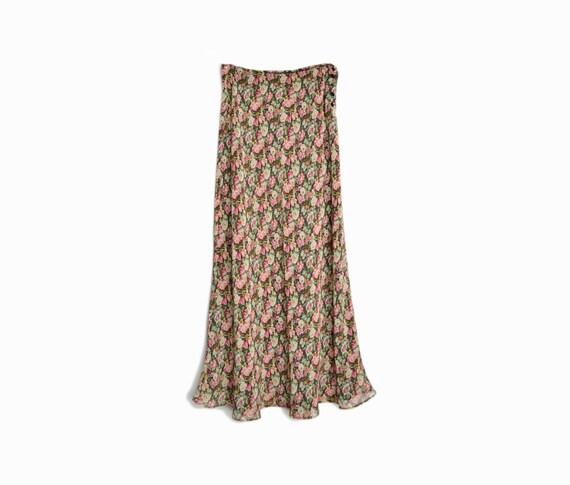 Vintage 90s Floral Print Festival Maxi Skirt - women's small