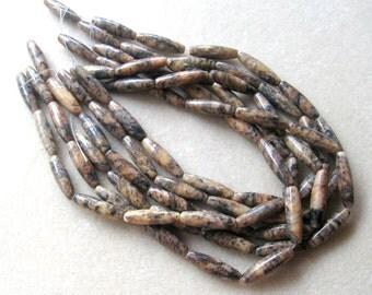 "Pink Feldspar Gemstone Beads, Jewelry Supplies, Barrel Beads, Craft Supplies, Jewelry Making Beads, Full Strand, Rice Beads, 15"" Strand"