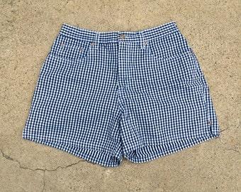 Bill Blass High Waisted Navy Blue Check Shorts Shorts 80s Vintage Colored Denim Cotton Shorts 29 waist Women