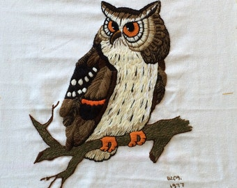 Big Brown Owl 70s Vintage Completed Needlepoint Bird Wall Art Ready to Frame Unframed Crewel Embroidery